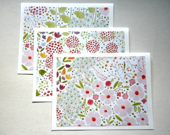 WATERCOLOR FLOWERS Print Note Card Set of Six
