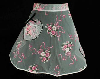 Small 1950s Apron - Sheer White Pink Bouquets Print Half-Apron with Black Rick Rack - Tea Party - Sweet 50s House Wife - Waist to 24 - 48647