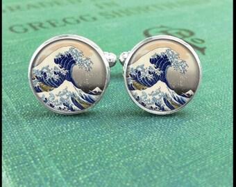 Great Kanagawa Wave Cufflinks, Great Wave Off Kanagawa, Great Wave Cufflinks, Japanese Cufflinks, Ocean Cufflinks, Gift Idea, Gift for him