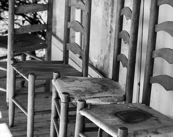 Plantation Charm - Wooden Chairs, Wall Art, Art Photography, Black and White, Home Decor, Fine Art, Country