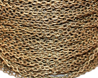 32ft Antiqued brass Chain-Finished brass - Cable Chain unsoldered-3x2mm