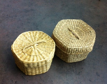 Vintage Baskets - 2 Sweet Grass Baskets - Storage Bins - Hand Wooven from Natural Dyes