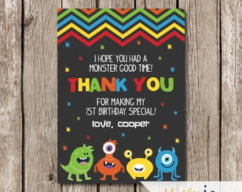 Bright Colors Chevron Monster Birthday Party Thank You Card - Monster Birthday Party Thank You Card - Monster Thank You