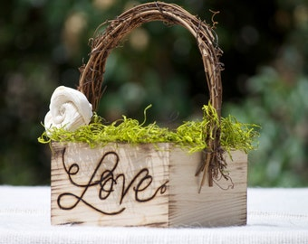 Personalized  ~ Rustic ~ Vineyard ~ Flower Girl Basket ~ Wood