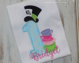 Wonderland birthday shirt, ONEderland Birthday Shirt, Alice birthday shirt, Tea Party shirt,  Mad Hatter shirt, Sew Cute Creations