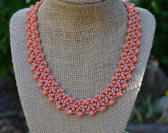 Peach Swarovski Pearl Beaded Necklace