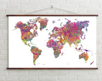 Abstract world map etsy world map watercolor world map printable map instant downloadprintable artkids decor worldmap artdigital art abstract world map gumiabroncs Gallery