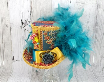 Teal, Gold, and Red Large Mini Top Hat Fascinator, Alice in Wonderland, Mad Hatter Tea Party, Derby Hat
