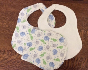 Baby Bibs and Burb Cloth Set of 3,  Cute Marine Life,  Blues Green White  Flannel, Terry cloth, Contour Fit, Ready to Ship