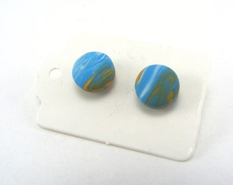 Turquoise mini studs, Polymer Clay Post sample Earrings, stocking filler