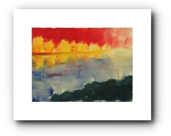 Original miniature landscape in oil, expressive, 9 x 12 cm