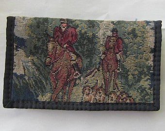Tapestry Fabric FOX HUNTING Equestrian Horse Ladies Wallet/Checkbook made in USA