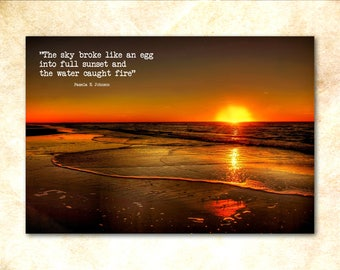 """Sunset Poem Art Poster - """"The sky broke like an egg into full msunset and the water caught fire"""" poetry art print"""