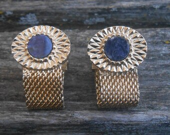 Vintage Blue & Gold Cufflinks 1970s. Gift For  Father's Day, Graduation For Your Dad, Brother, Husband.
