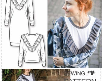 Sweatshirt Dress Sewing Pattern - Womens Sewing Patterns - Sweatshirt Sewing Pattern - Simple Sewing Projects - Sewing Tutorial