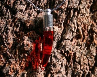 Vampire's Blood Fang. Hand blown glass & silver plated pendant with Vampire's blood inside! Blood Vial. Blood Fang necklace. Blood phial.