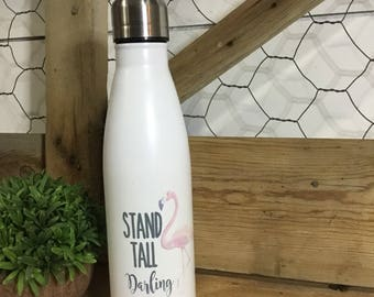 Flamingo Water Bottle - Flamingo Party Gift - Stand Tall Darling - Reusable Water Bottle - Gift for little girl - Flamingo Lovers