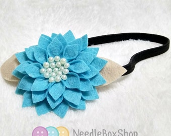 baby / toddler Blue Single Floral felt garter Headband with fake pearl beads