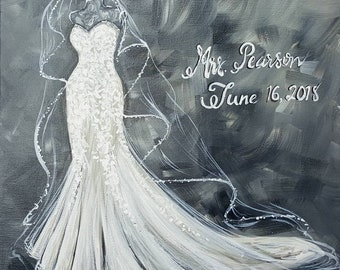 Custom Bridal Gown Painting