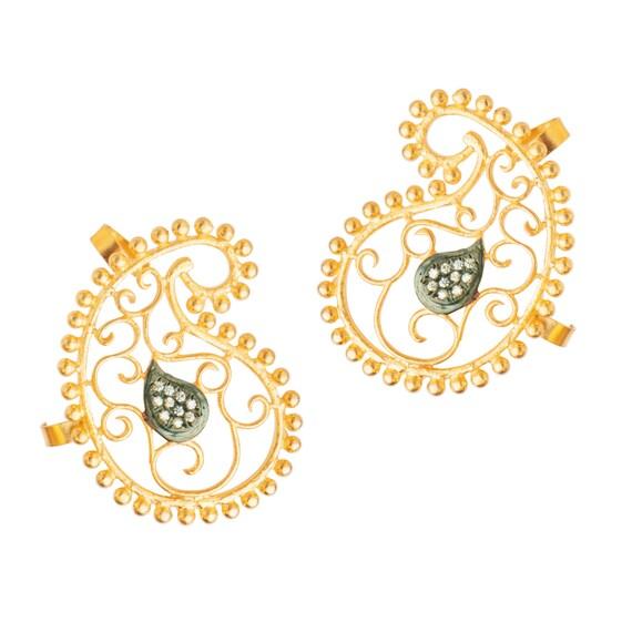 Gold Cuff Earrings Stud Earring Indian Jewelry Designer