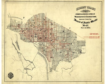 Map of Washington DC and Georgetown; Antique Map, 1873