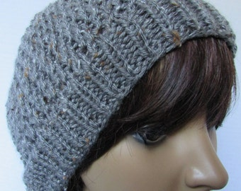 Silver Grey Lacy Knit Beanie with Freckling
