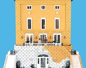 French Coloring Book - Le Chateau Bidaine - Dollhouse miniature - Cavalier King Charles spaniel dolls