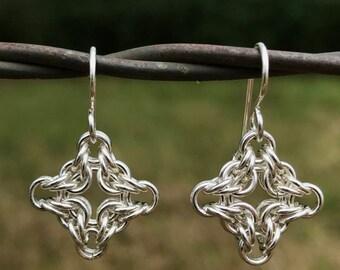 Sterling Silver Byzantine Diamond Weave Earrings