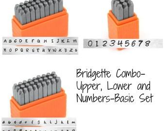 Basic Bridgette COMBO Upper, Lower and Numbers-3mm Alphabet Economy Impressart -Metal Stamp Set-
