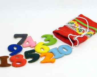 Quiet Soft Felt Number Counting Toys Toddler Count With Felt Math Learning Math Organic Kids Color Sorting Toy Educational Numbers Toddlers