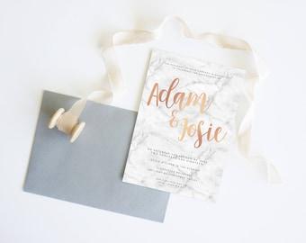 Black White Rose Gold Marble Copper   Wedding Event Invitation Suite   Printable Digital File Printed Invite Invitations Stationery