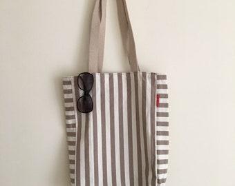 Striped Shoulder Bag | Cotton Tote Bag | Shopper Bag | Vegan Tote Bag | Vegan Shoulder Bag | Gift for You