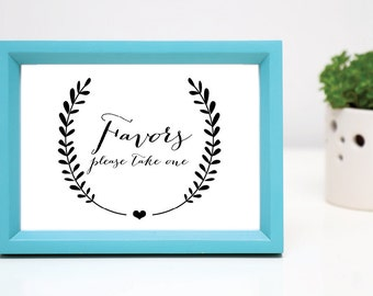 Printable Favors Please Take One INSTANT DOWNLOAD Wedding Sign Black and White DIY Sign Wedding Decorations