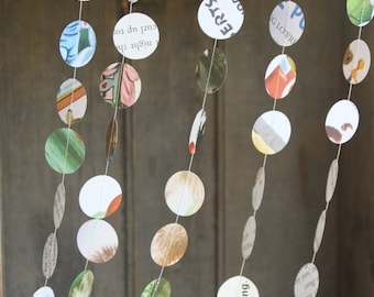 Birthday Party Decorations, Paper Garland, Children's Book Page Garland, Little Dots, Confetti Garland, 10 feet long