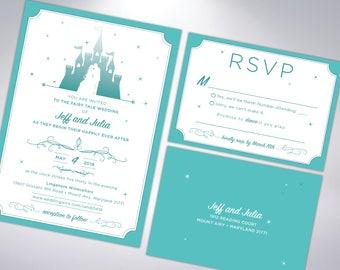 Fairytale Wedding Invitation Suite   Includes Invitation, RSVP postcard & Envelope   Wedding Invites   Fairytale   Castle   Storybook