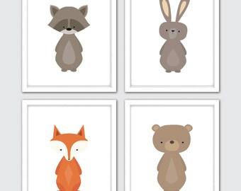 Woodland Baby Prints, Woodland Print Set Of 4, Forest Decor Nursery, Forest Art Nursery, Nursery Forest Print, Prints Animal Forest