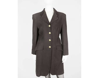 Brown vintage long Blazer with Crest buttons