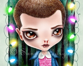 Eleven 8 x 10 Print, Digital Illustration by Sandra Vargas, Stranger Things Tribute, Pop Surrealism