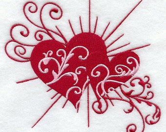 EMBROIDERED VALENTINE HEART Flour Sack Towel/ Hand Towel / Bath Towel  / Apron