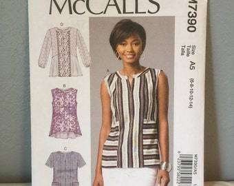 McCalls Sewing Pattern M7390 Misses Semi fitted Pullover Tops Size A5 with 6 8 10 12 14