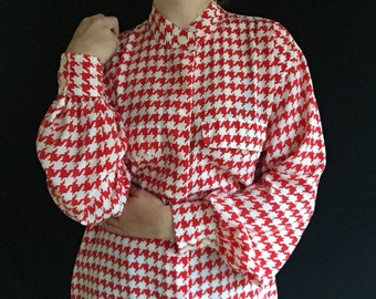 Houndstooth Shirt | L/XL long sleeve red white checker plaid 90s minimalist urban vintage lightweight office professional kitsch blouse top
