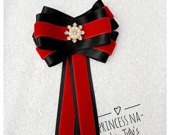 Bow Broch - Bow Tie Brooch - Gift for Her - Ribbon Brooch - Velvet Brooch - Black and Red - Satin Brooch - Rhinestone Brooch- Gucci Inspired