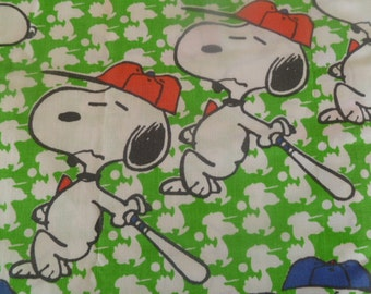 RARE Collectable Snoopy Baseball Twin Flat Sheet Vintage Fabric