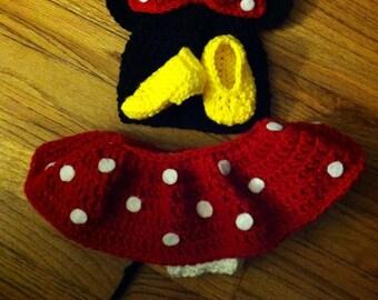 Crochet Mouse set hat bottom shoes- newborn-3months