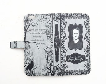 Book phone /iPhone flip Wallet case- Edgar Allan Poe for  iPhone X 8 7 6 5, 6 7 & 8 plus, Samsung Galaxy S9 S8 S7 S6 S5 Note 5 7 8 LG, Sony