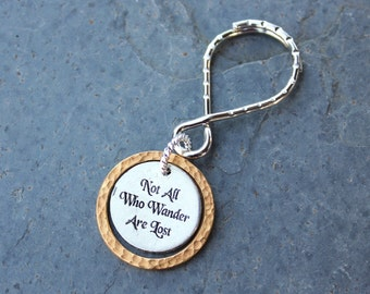 Not All Who Wander Are Lost Keychain - Inspirational Words- pewter charm, gold ring, Infinity shaped keyring - Free Shipping USA