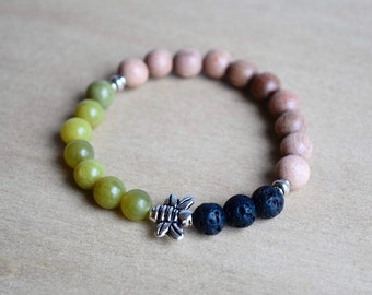 Boho Green Bracelet / save the bees, lava jewelry gift, self care, silver bee bracelet, abundance bracelet, honey bee jewellery, group 10