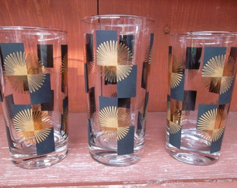 Vintage Atomic Star Burst Barware Beverage Glasses Set of 3 Mad Men