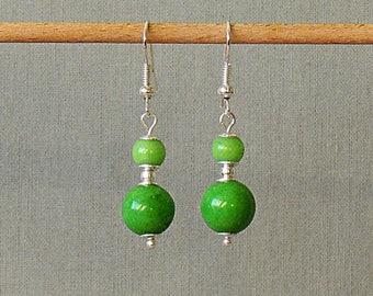 Earrings green jade meadow and metal beads