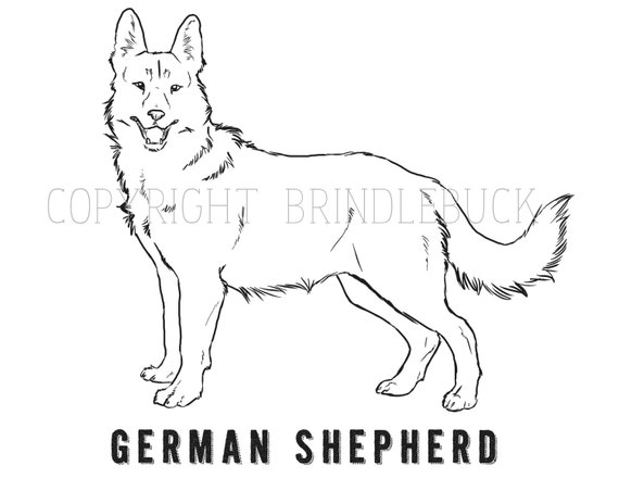 Items similar to german shepherd dog coloring page child art adult coloring project on etsy